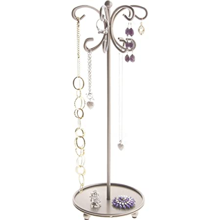 Hanging Long Necklace Holder Organizer Display Stand Jewelry Storage Tall Necklace Rack Metal Ava by Angelynn/'s