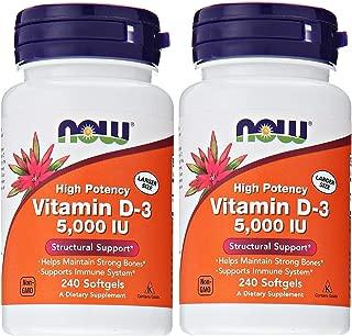 Now Foods Vitamin D3 5,000 IU, 240 softgels (Pack of 2)