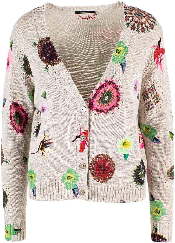 Desigual Women's 19SWJF35BEIGE Beige Cotton Cardigan