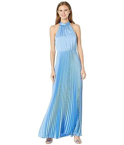 BCBGMAXAZRIA Halter Pleated Gown