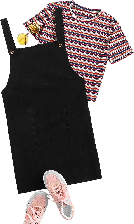 SweatyRocks Womens Casual Corduroy A Line Mini Pinafore Overall Dress