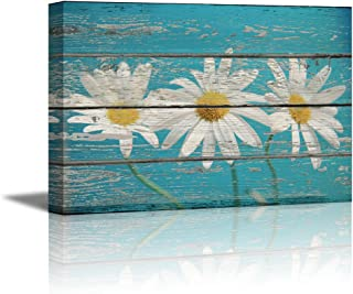 wall26 - Flowers on Sky Blue Vintage Wood - Canvas Art Wall Decor - 16