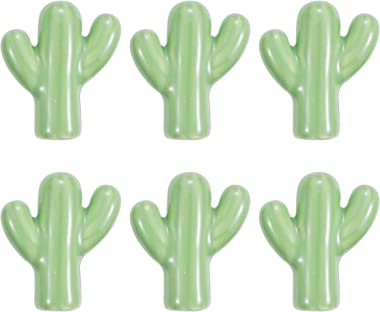 6 PCS Ceramic Cactus Knobs for Baby Nursery Cabinets Bathroom Kitchen Bedroom Dressers and Drawers - Llama and Cactus/Desert