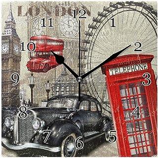 Vintage London Eye Big Ben väggklocka tyst icke-tickande fyrkantig konstmålning klocka för hem kontor skoldekor
