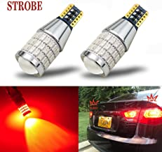 iBrightstar Newest 9-30V Flashing Strobe Blinking Brake Lights 912 921 W16W T15 906 LED Bulbs with Projector replacement for Tail 3rd Brake Stop Lights, Brilliant Red