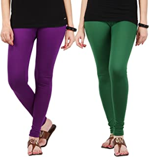 FabLab Cotton Lycra Churidar Leggings(FLCLCOMBO2PURPDG,Purple, Dark Green,Free Size) Combo Pack of 2