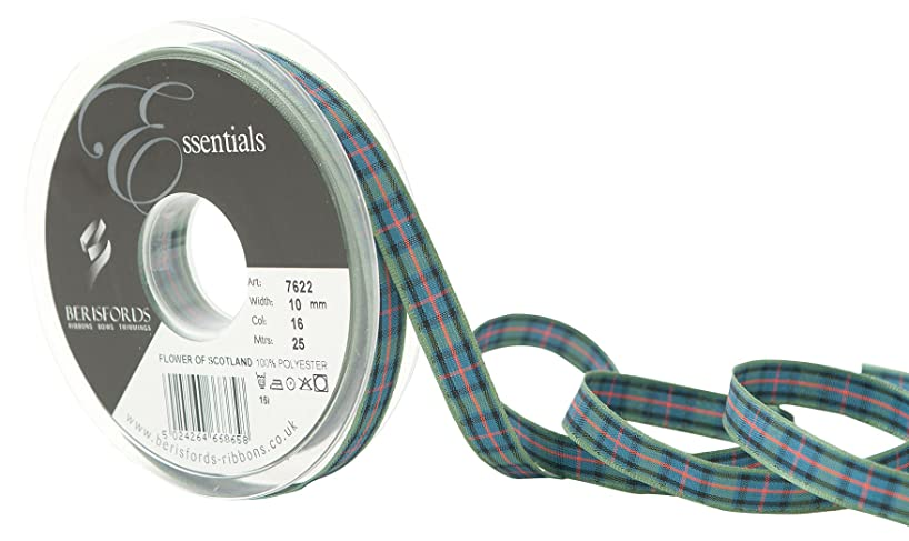 Berisfords R762210/16 | Flower of Scotland Woven Tartan Ribbon | 25m x 10mm