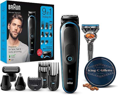Braun MGK5280 9 en 1 - Recortadora de barba, set de depilaciónpara hombre + King C. Gillette Bálsamo Barba Hombre con...