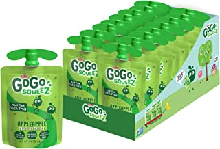 GoGo squeeZ Applesauce, Apple Apple, 3.2 Ounce (18 Pouches), Gluten Free, Vegan Friendly, Unsweetened Applesauce, Reclosea...