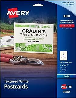 بطاقات Avery قابلة للطباعة ، طابعات نافثة للحبر ، 120 بطاقة ، 4.25 × 5.5 ، ثقيل الوزن ، محكم (3380) ، أبيض