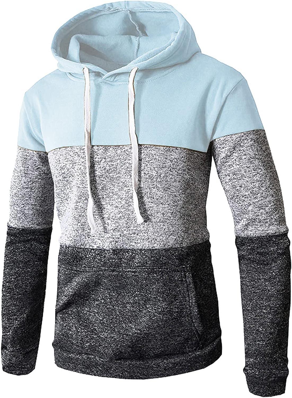Hoodies for Men Pullover Vintage Aesthetic Sweathshirt Hooded Long Sleeve Spliced Slim Fit Sweater with Pocket
