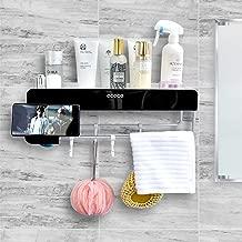SHE'S HOME Bathroom Wall Mounted Organizer with Towel Bar, Shower Caddy Wall Bathroom Shower Organization Adhesive Corner Suction Storage Rack Shelf Hanging Hooks,Soap Holder,Black