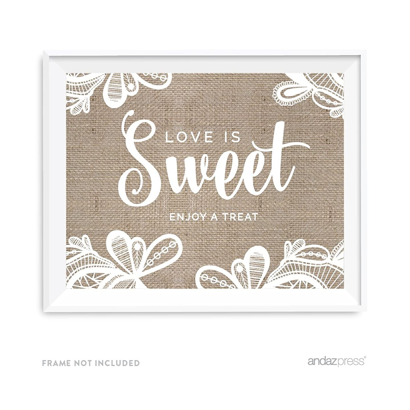 Andaz Press Burlap Lace Print Wedding Collection, Party Signs, Love is Sweet, Enjoy a Treat Dessert Table Sign, 8.5x11-inch, 1-Pack