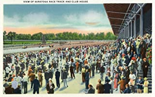 Saratoga Springs, New York - Crowds at Saratoga Race Track and Clubhouse (12x18 Art Print, Wall Decor Travel Poster)