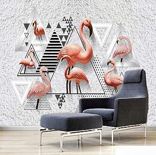 Poster Mural Flamant Rose Géométrique Noir Et Blanc 3D Intissé Photo Poster Tableaux Muraux Salon Chambre Bureau Couloir M...