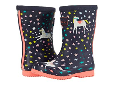 Joules Kids Roll Up Welly Print (Toddler/Little Kid/Big Kid) (Navy Unicorns) Girl
