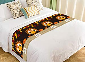 Custom Thanskgiving Day Beautiful Turkey with Pumpkin and Red Maple Bed Runner Bedding Scarf Size 20x95 inches
