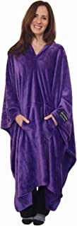 throwbee Original Blanket-Poncho Purple (Yay! NO Sleeves) Best Wearable Blanket on The Planet Soft Throw Indoors or Outdoors - Adults Men Women Kids