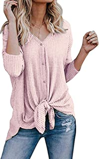 Roselux Womens Henley Shirts Long Sleeve Waffle Knit Tunic Blouse Tie Knot Button Down Loose Fitting Tops