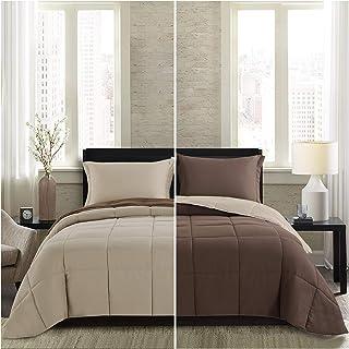 Comforter Lightweight Homelike Moment Light Comforter - Queen Brown Beige All Season Down Comforter Alternative Set Dvet Duvet Insert 3 Piece - 1 Comforter with 2 Shams قابل برگشت کامل / اندازه ملکه قهوه ای / بژ
