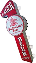 Budweiser Lager Beer Bar - Reproduction Vintage Advertising Sign - Battery Powered LED Lights, Double Sided Metal Wall Mounted - 25 x 10 x 4 inches