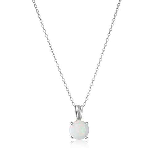 """Amazon Essentials Sterling Silver Genuine or Created Round Cut Birthstone Pendant Necklace, 18"""""""