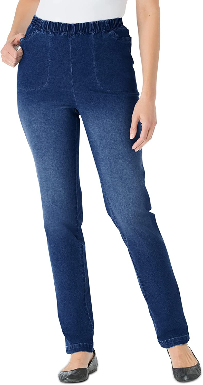 Woman Within Women's Plus Size Petite Straight Leg Fineline Jean