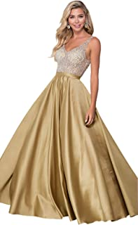 Zhongde Women's Sparkly A Line V Neck Backless Beaded Satin Prom Dress Long Formal Evening Gown