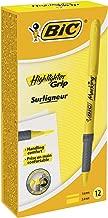 BIC Highlighter Grip Marcadores punta biselada Ajustable - Amarillo, Caja de 12 unidades