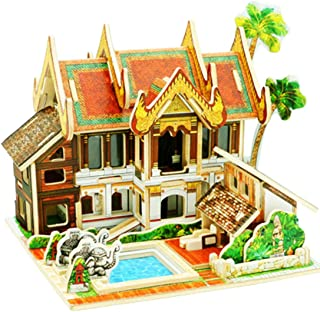 HMANE World Style 3D DIY Assembly Wooden Puzzle House Game Miniature Architectural Model Educational Toy (Thailand Resort Hotel Shape)