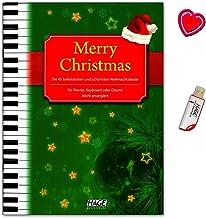 Merry Christmas. 45más populares y mejores canciones de Navidad para piano, teclado o guitarra.–Songbook con USB Stick y Bunter herzförmiger–Partituras HAGE Verlag eh1076u 4026929916846