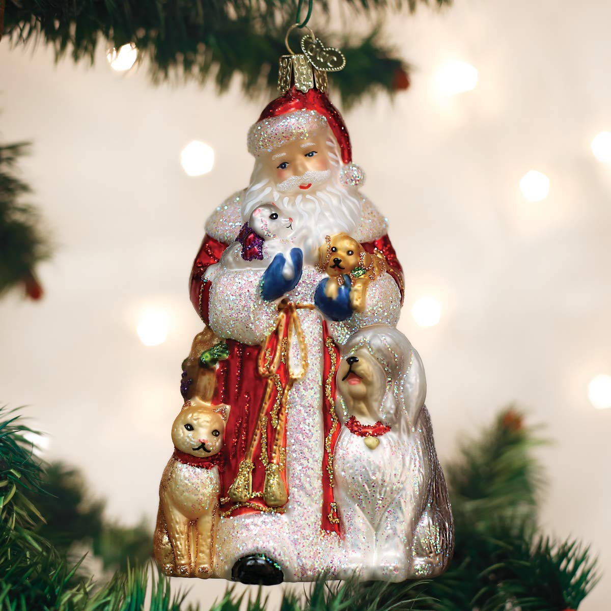 Image of Beautiful Glass Furry Friends Santa Ornament