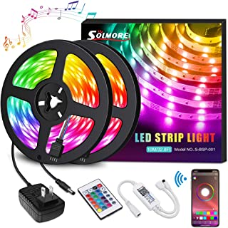 LED Strip Lights,SOLMORE LED Light Strips 10M 32.8FT Wireless Music RGB Tape Lights 300 Lights Smart Phone App Controlled Rope Lights for Home Parties Birthday Bar Club Decoration
