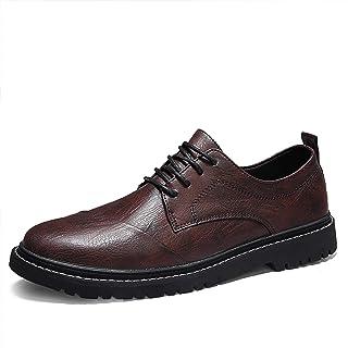 Phefee Zapatos casuales urbanos de cuero de los hombres con cordones clásicos de negocios casual premium genuino