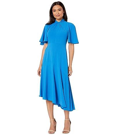 Maggy London Catalina Crepe Twist Neck Asymmetrical Hem Midi Dress (Sea Blue) Women