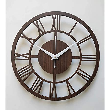 Ave Omcrafts Round Roman Wooden Clock, Wood Carving MDF Design Wall Clock, Perfect for Office, Classroom, Bedroom, Living Room, Restaurant,Hotel etc.