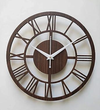 Simran Handicrafts Round Roman Wooden Clock, Wood Carving MDF Design Wall Clock, Perfect for Office, Classroom, Bedroom, Livi