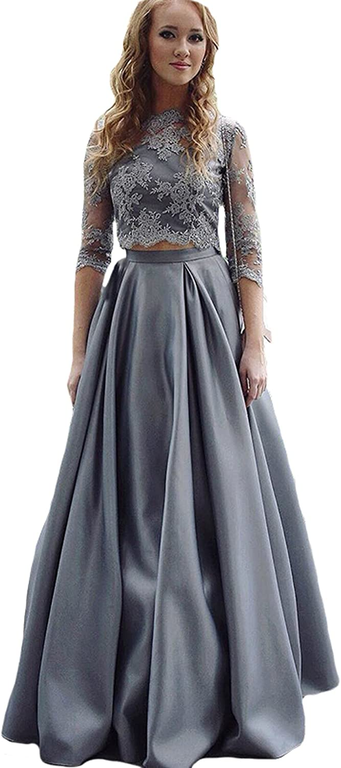Dearta Women's ALine Two Pieces 3 4 Sleeve Prom Party Homecoming Dresses Silver
