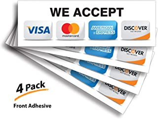 """Credit Card Sticker Signs Stickers – 4 Pack 9""""x3"""" Inch We Accept Visa, MasterCard, Amex & Discover, Premium Front Adhesive Vinyl for Applying Inside The Window or Glass Door"""