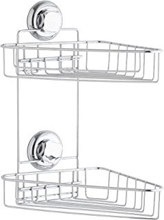 RAN7799 Fino a 12 Kg 23.8 x 23.8 x H.12.8 cm COMPACTOR Mensola Bagno ad Angolo Acciaio Cromato Antiruggine Fissaggio a Ventosa