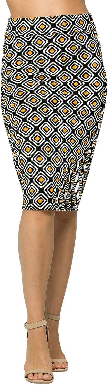 Junky Closet Women's Comfort Stretch Pencil Midi Skirt (3XL, S2936FBBQ-BLK-MUS)