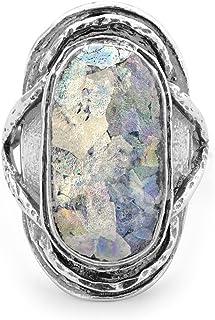 Oxidado Anillo de plata de ley con textura grande Oval vidrio romano–tamaño L 1/2