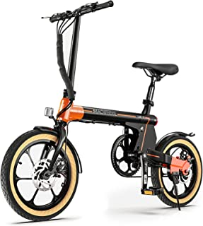"""Macwheel 16"""" Electric Folding Bike, 7.5Ah Lithium-ion Battery, Top Speed 15.5mph, Dual Disc Brakes, Electric Commuter Bicy..."""