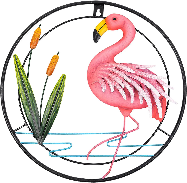 Vidduo Flamingo Metal Wall Art Hanging Décor for Indoor Outdoor, Flamingo Wall Plaque Hanging Artwork Garden Statues and Sculptures Wall Mural Yard Garden Decor for Home Room Door Patio Yard, 13