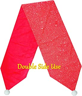 Outkitkit Sequin Christmas Table Runner, Knitted with Sequin & Non-Woven Fabric, Reversible Table Decoration for Christmas and Theme Party, 1490 Inches