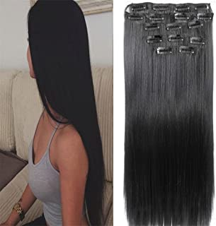 Clip in Hair Extensions Synthetic 22 Inch Straight Hair Extensions for Women for grils Hair Extensions Full Head curly Hair Pieces for Women 7pcs 16 Clips Thick Straight very natural