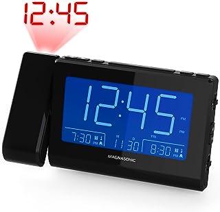 Magnasonic Alarm Clock Radio with Time Projection Auto Dimming Battery Backup Dual Gradual Wake Alarm Auto Time Set Large 4.8 LED Display AM/FM (CR62)