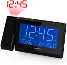 Magnasonic Alarm Clock Radio with Time Projection, Auto Dimming, Battery Backup, Dual Gradual Wake Alarm, Auto Time Set, Large 4.8
