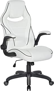 OSP Home Furnishings Xeno Ergonomic Adjustable Gaming Chair, White with Black Accents
