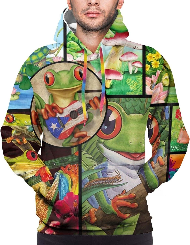 Hoodie For Men Women Unisex Puerto Rico Frog Pullover Hooded Sports Sweatshirt
